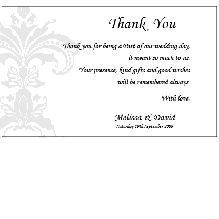 formal damask thank you card
