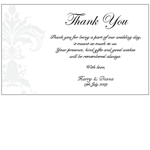 Black Pinstripe Damask - Thank You Card