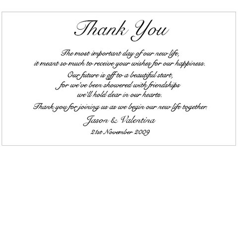 Snow Valentine -  Thank You Card