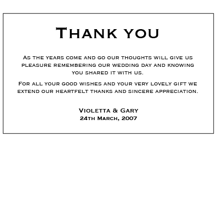 Classic Black - Thank You Card