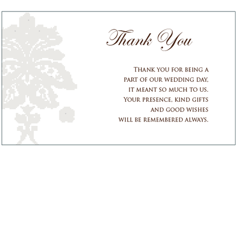 Damask Mink Pocket - Thank You Card