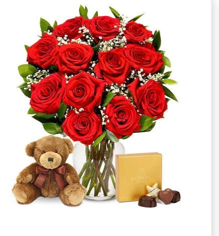 1 Dozen Red Roses with Bear & Chocolates