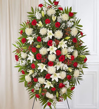 Load image into Gallery viewer, Red & White Sympathy Standing Spray