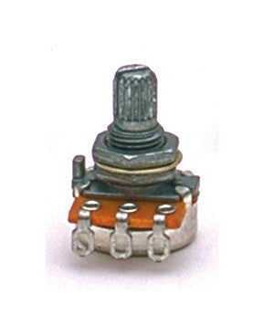 Potentiometer - 250K mini pot audio taper 1/4 inch long threads split knurled shaft