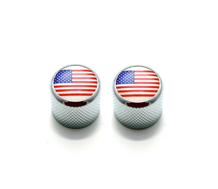 Dome knobs with US flag - fits split shaft pots