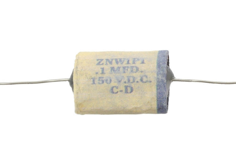 Capacitor - Reproduction 1954 phonebook-style capacitor. White with blue stripe, wax with film condenser. 0.1 mfd, 150 VDC. 2 inch wire lead