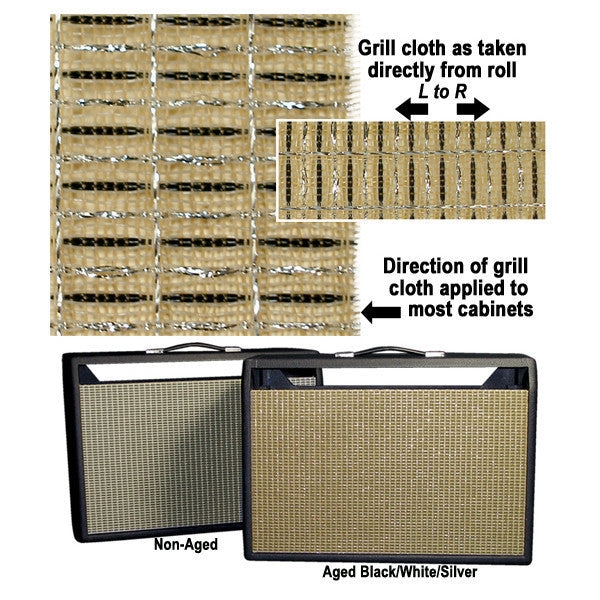 "Amp grill cloth - Fender style - black/white/silver(aged) - 36"" wide (per yard)"