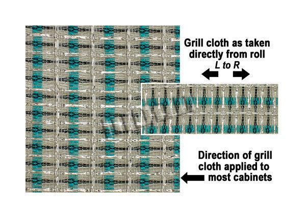 Amp grill cloth - Fender style - turquoise/white/silver - 36 inch wide (per yard)