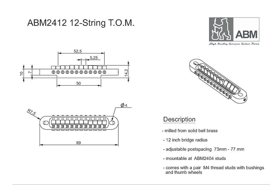 Guitar bridge - ABM 12-string tunematic