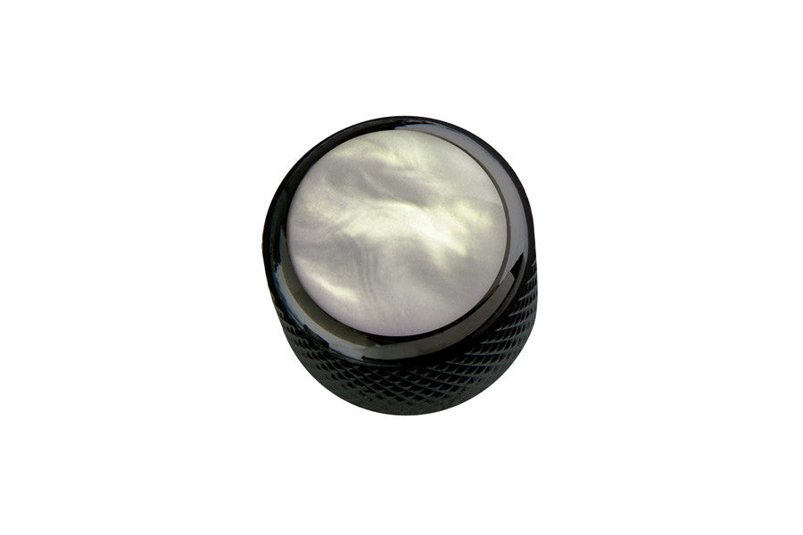 Dome metal knob w white pearl acrylic inlay
