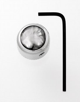 Dome metal knob w black pearl acrylic inlay