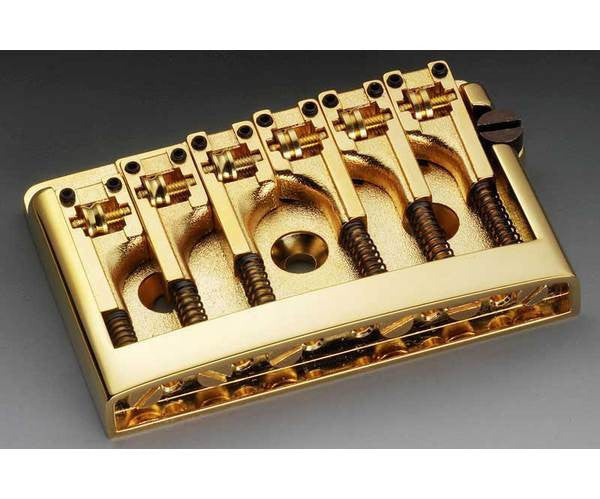 Guitar bridge - Schaller non-tremolo brass guitar bridge w adjustable spacing -  2 inch - 2-1/4 inch (50mm - 56.5mm)