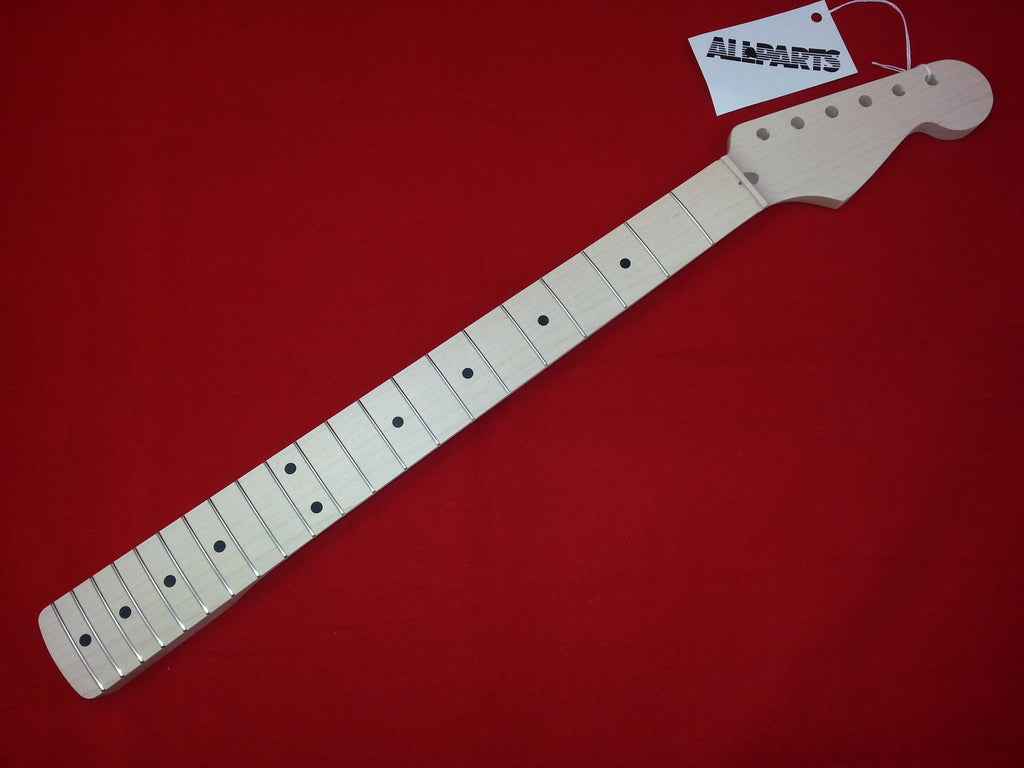 Guitar neck - replacement neck for Strat - solid maple - no finish - 21 fret