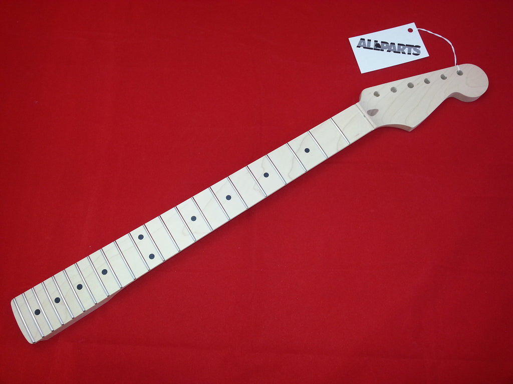 Guitar neck - replacement neck for Strat - solid maple - no finish - 22 fret