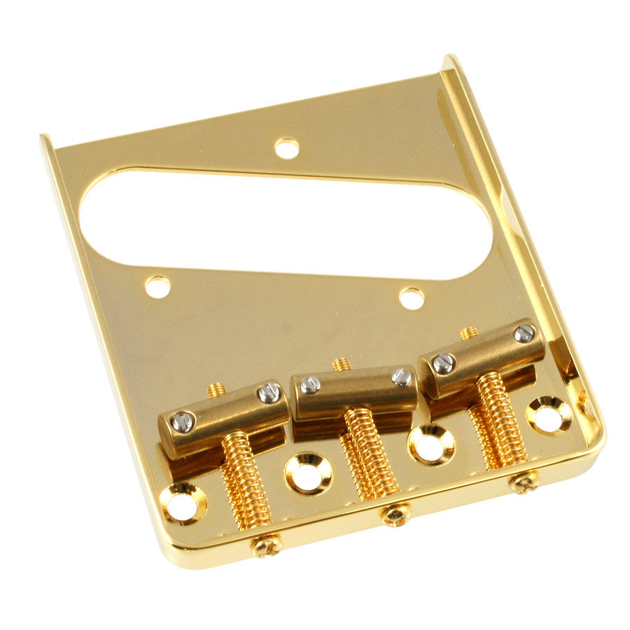 Guitar bridge - vintage-style 3-saddle steel bridge for Tele w tilt compensated brass saddles