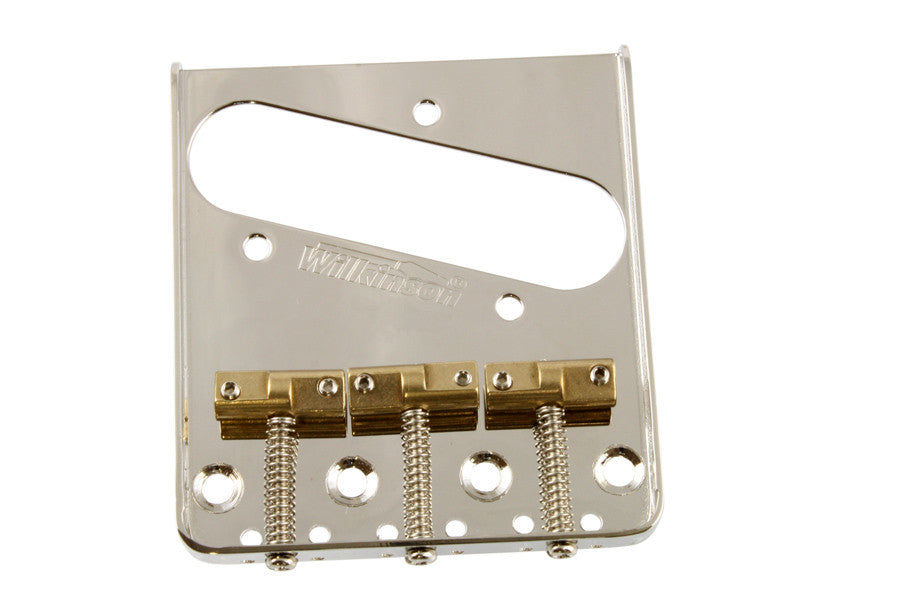 Guitar bridge - Wilkinson vintage-style steel bridge for Tele staggered /compensated saddles