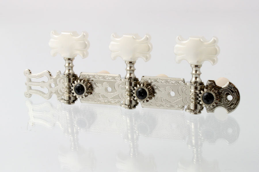 "Tuning keys - classical tuning keys - with ""butterfly"" white plastic buttons"