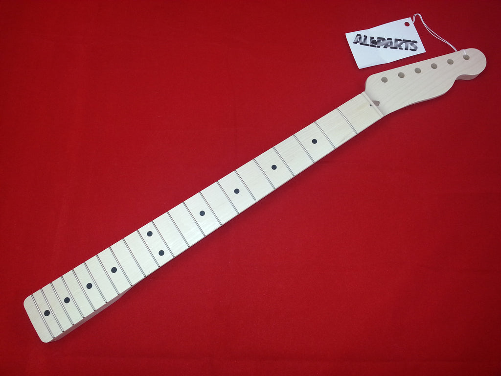 Guitar neck - replacement neck for Tele - solid maple - no finish - 10 inch radius