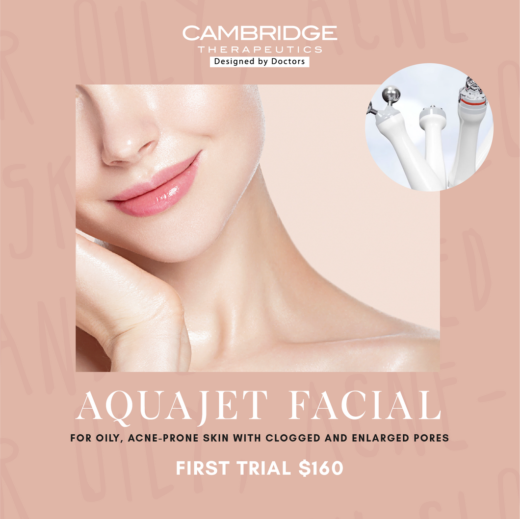 AquaJet Facial for oily, acne-prone skin with clogged and enlarged pores. First Trial at $160