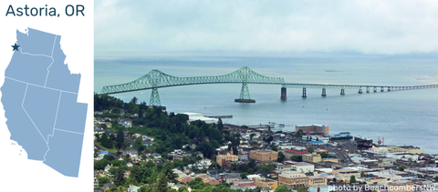 Map and photo of Astoria, OR