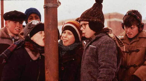 Christmas Story frame of licking cold pole