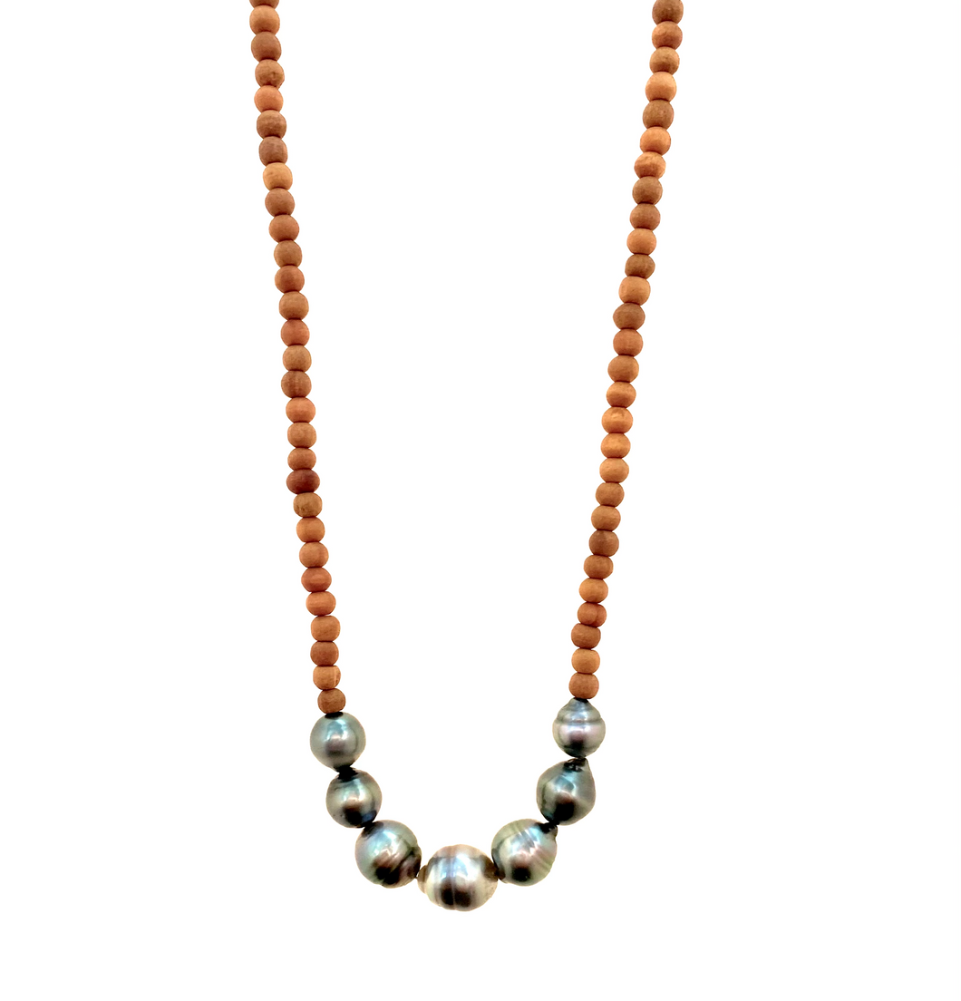 Tahitian Pearl Sandalwood Necklace