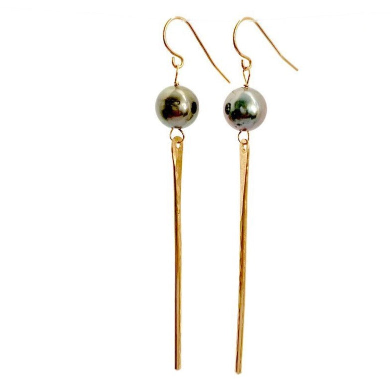 Tahitian pearl spike earrings