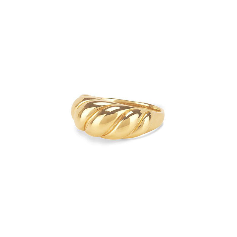 Twisted Croissants Rings Threads Geometric Rings gold color
