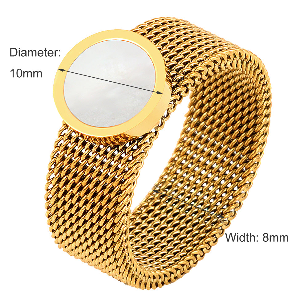 Gold Color Round Charm Mesh Women Ring with shell Stone