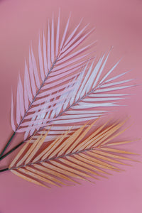 Faux palm leaves  Pink, white and orange colors - Artificial palm leaves Decor |