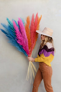 DRIED PAMPAS GRASS 4ft for decor and weddings (Red, orange, fuchsia, turquoise and blue  colors
