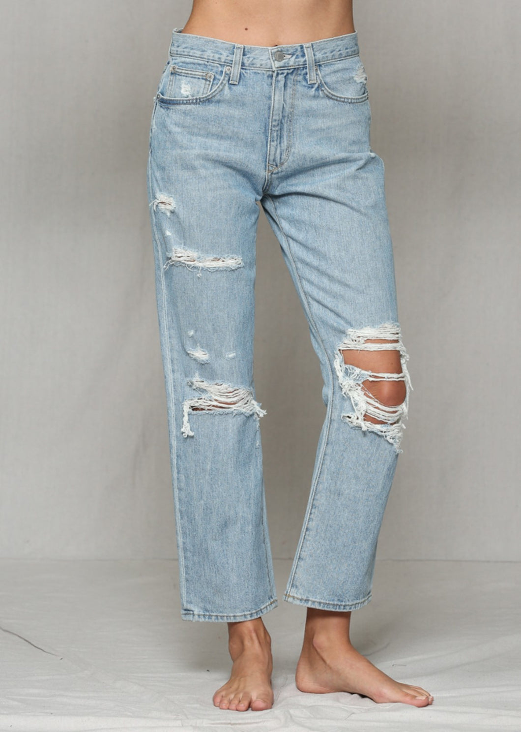 By Together Distressed High Waisted Boyfriend Jeans
