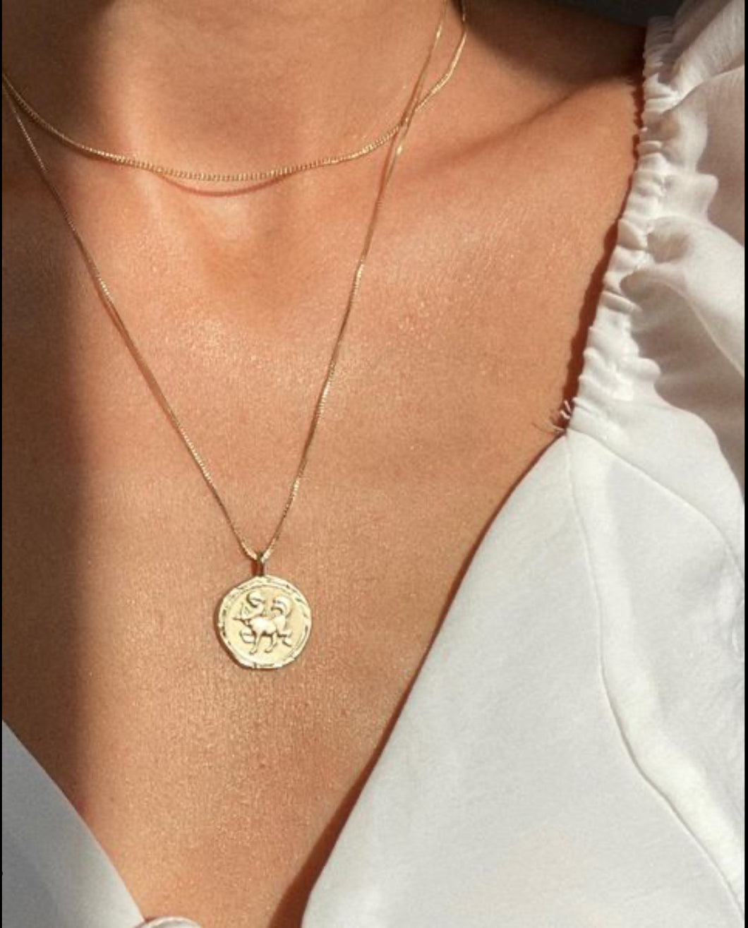 Pilgrim Horoscope Hammered Necklace