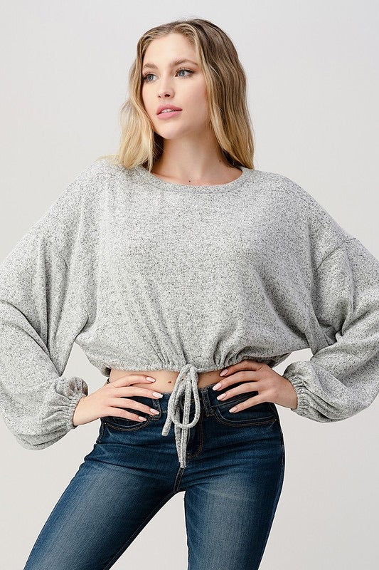 Hashtag Knit Cropped Top