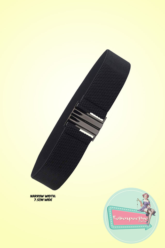 Black Narrow Elasticated Belt