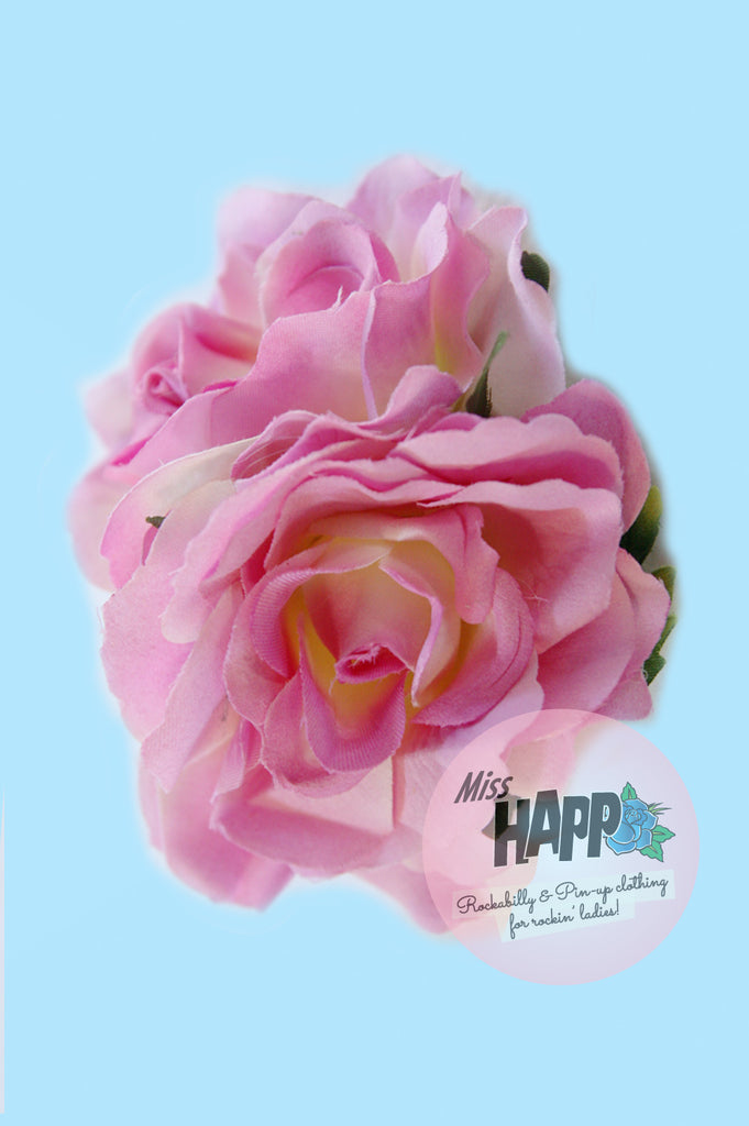 Double Baby Pink Rose flower clip