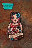 Girl Power tattooed Nesting Doll sticker