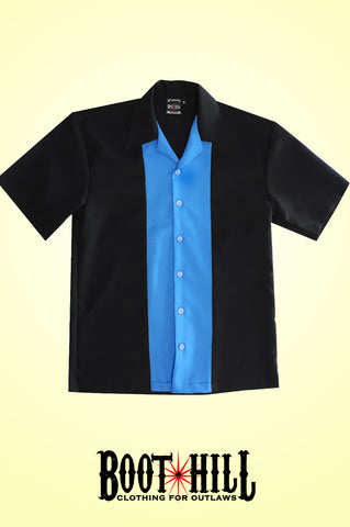 Rodger's Bowling shirt Black and Pale Blue