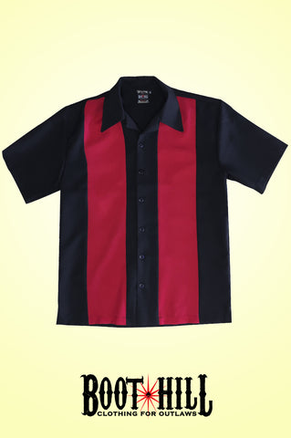 Glen's Bowling shirt Black and Red