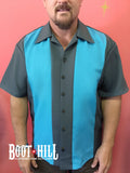 Glen's Bowling shirt Grey and Turquoise