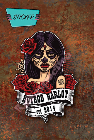 Hotrod Harlot Sugar Skull sticker