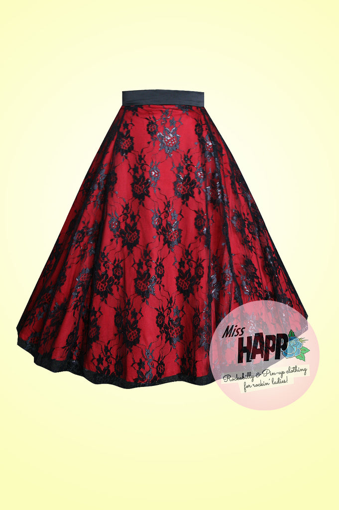 Red and Black Lilith Lace Skirt