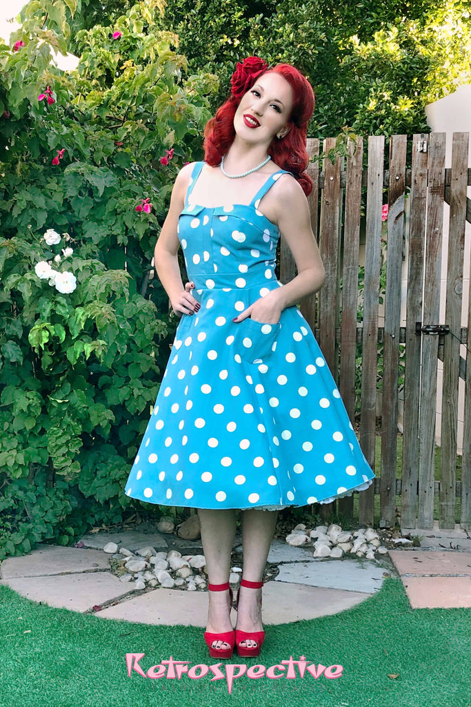 Polka Dot Lucy Dress Teal