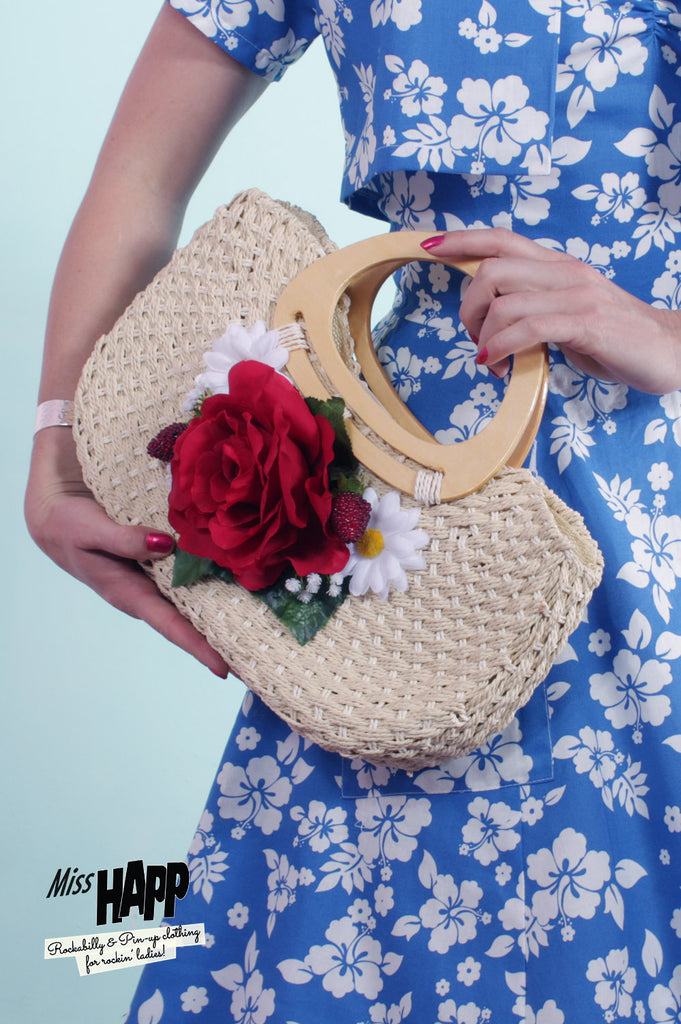 Country Rose Straw Handbag