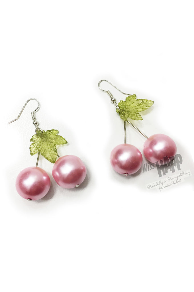 Pink Pearl Cherry Earrings