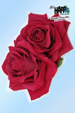 Double Red Rose hair flower clip