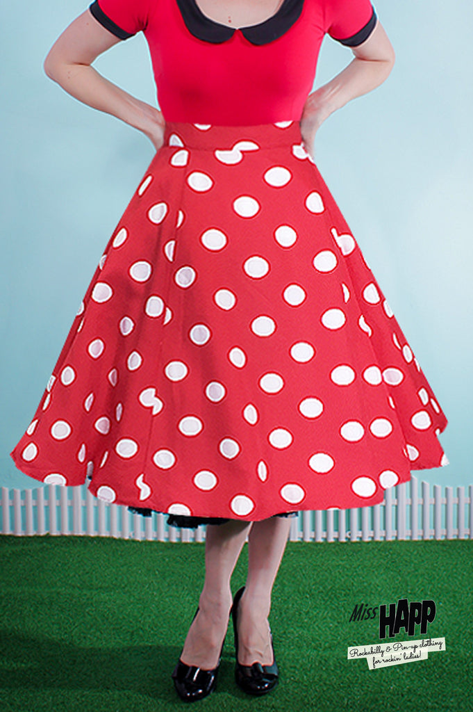 Polka Dot Starla Skirt Red - Medium