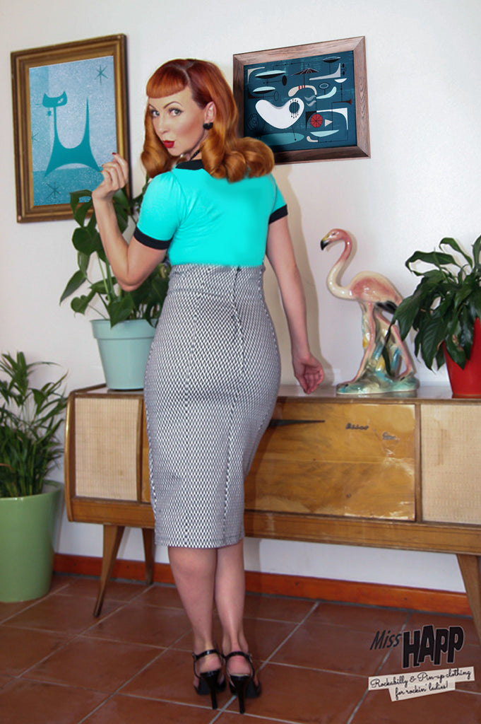 Optical Anna Dungaree Pencil Skirt