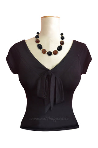Maggie Bow Tie Top Black