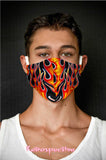 Cotton Orange Hotrod Flame Face Mask